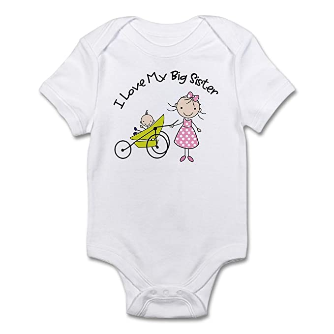 85ffcc4f9427 CafePress Little Brother Big Sister Matching Shirts Infant B Cute Infant  Bodysuit Baby Romper Cloud White