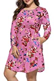 Womens Plus Size Dresses Floral Empire Waist A-Line Dress with Pockets 3XL Pink