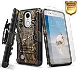 LG K20 Plus Case, LG K20 V Case, LG K20V Case with [Tempered Glass Screen Protector] NageBee [Heavy Duty] Armor Shock Proof Dual Layer [Swivel Belt Clip] Holster [Kickstand] Combo Rugged Case -Camo