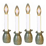 KensingtonRow Home Collection Candle Lamps - Pineapple Electric Window Candlestick Lamps - Set of Four - Pewter Finish