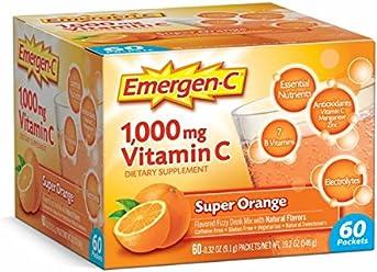 Emergen-C (60 Count, Super Orange Flavor, 2 Month Supply) Dietary Supplement Fizzy Drink Mix with 1000mg Vitamin C, 0.32 Ounce Packets, Caffeine Free