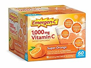 Emergen-C (60 Count, Super Orange Flavor, 2 Month Supply) Dietary Supplement Fizzy Drink Mix with 1000mg Vitamin C, 0.32 Ounce Packets, Caffeine Free