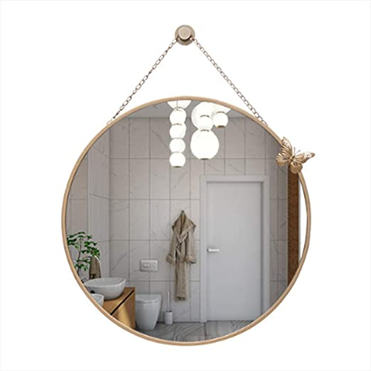 Amazon Com Jwzq 24 Large Wall Mirror Round Mirror With Hanging Chain Modern Decorative Mirror For Bedroom Bathroom Home Kitchen