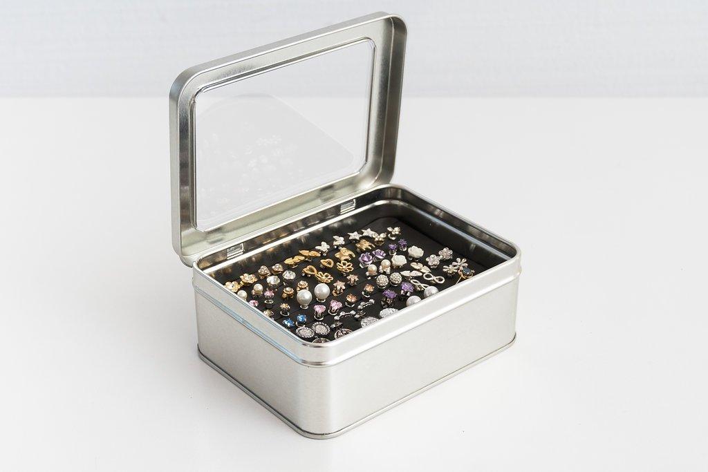 Tin Jewelry Box, Earring Holder, Travel Jewelry Case, Keep Earring BACKS ON !