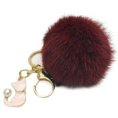 SUPPION Cat Pear Rabbit Fur Ball Fox Keychain -