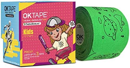 [Latest Patterns] OK TAPE Kid Sport Kinesiology Tape Designed for Kid&Teenage Hypoallergenic for Sensitive Skin Precut Tape for Sports Supply,Easy Removal No Harm to Skin 5.9 Inches 32 Strips 1 Roll
