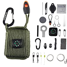 Campsnail 25 Accessories Emergency Survival Pod Kit wrapped in 550 lb Survival Grenade Cord for Emergencies