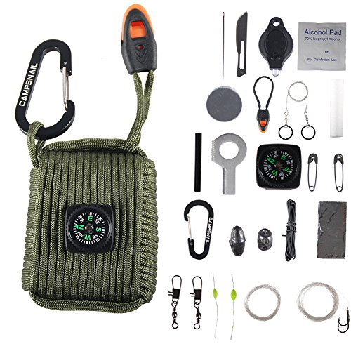 Army Kit (Campsnail 25 Accessories Emergency Survival Pod Kit wrapped in 550lb Survival Grenade Cord For Emergencies (Army)