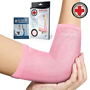 Doctor Developed Ladies Pink Elbow Compression Sleeve for Women and Doctor Written Handbook- RELIEF from Tennis/Golfers Elbow & Other Elbow Conditions - Excellent Customer Support (Small)