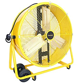 Image of Home and Kitchen STANLEY ST-24DCT Direct Drive Cradle Drum Fan-Tiltable 24' Yellow, Black