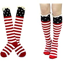 Rosemarie Collections Women's American Flag Cotton Knee High Boot Socks