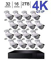 Q-See 4K (8MP) QT-IP Kit Sixteen Camera with NVR IP Ultra-HD 32-Channel with 2TB HDD with H.265 (QT816-2 + 16x QTN8086B)