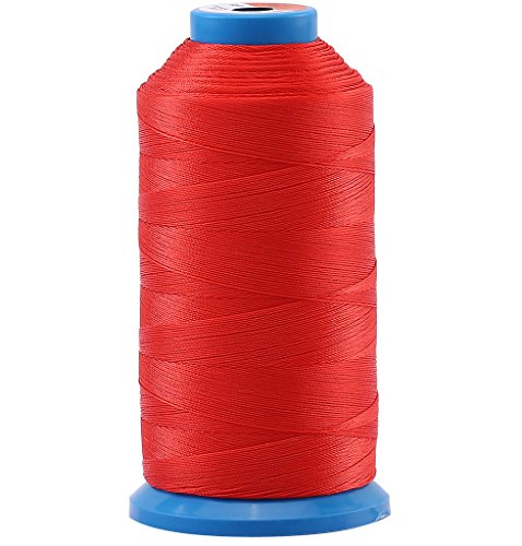 Selric [1500 Yards/Coated/No Unravel Guarantee/21 Colors Available] Heavy Duty Bonded Nylon Threads #69 T70 Size 210D/3 for Upholstery, Leather, Vinyl, and Other Heavy Fabric (Red) ()