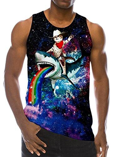RAISEVERN 3D Cat on Shark Print Funny Pattern Realistic Underwaist Gym Tank Tops for Men,Cat on Shark,X-Large Cat Mens Tank Top