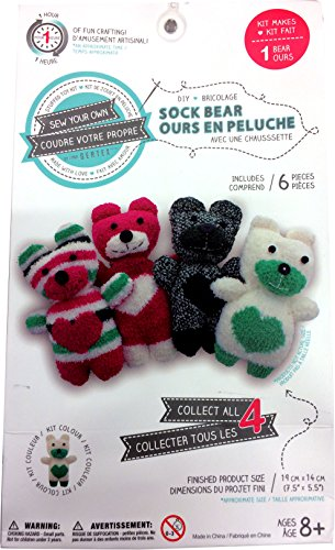 Sew Your Own DIY Sock Bear Kit - White/Green Striped Bear (Sew Your Own Bear compare prices)