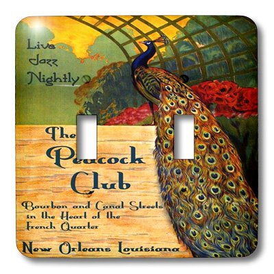 3dRose lsp_181085_2 Image of Beautiful Peacock on Jazz New Orleans Vintage Poster Light Switch Cover