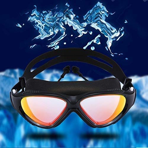 BHDYHM Children Adult Swim Goggles, No Leaking Anti-Fog Indoor Outdoor Swimming Goggles with UV Protection Mirrored Clear Lenses (Color : D)