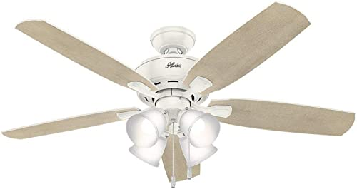 Hunter Fan Company 53217 Amberlin Indoor Ceiling Fan with LED Light and Pull Chain Control, 52 , White
