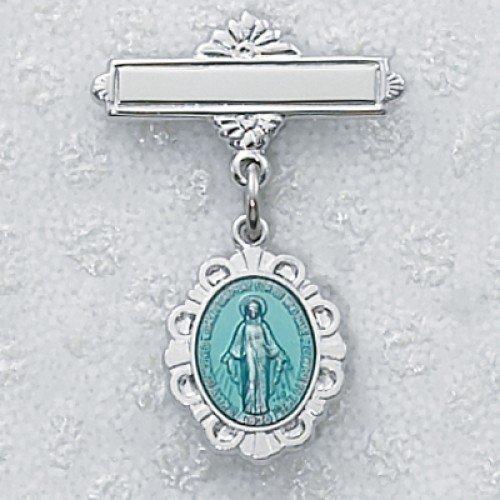 KeegansCatholicTreasures Sterling Silver Blue Enameled Miraculous Medal Baby Pin