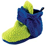 Luvable Friends Baby Cozy Fleece Booties, Lime/Blue, 6-12 Months