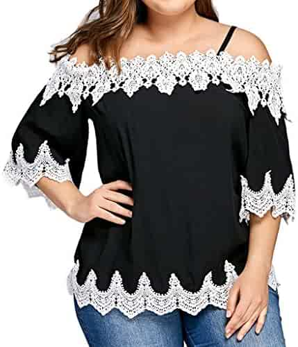 ff0cc5513bdee Clearance T-Shirts Women chaofanjiancai Casual Plus Size Tops Lace Off  Shoulder Short Sleeve Summer