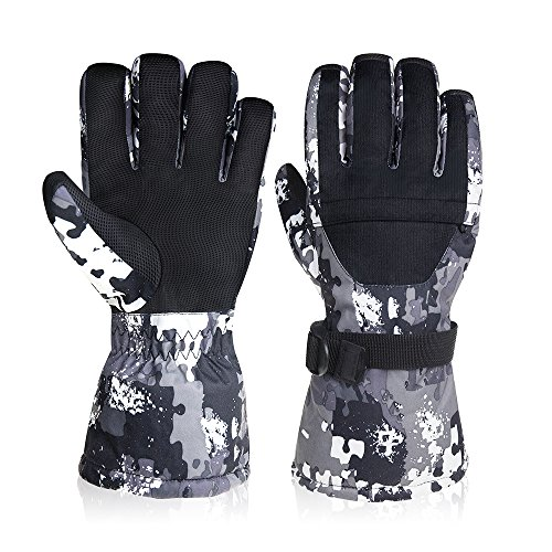 -30°F Winter Gloves, Super Warm Snow Ski Glove with Zipper Pocket - Anti-skid PU Palm Windproof Water Resistant Back Waterproof TPU Inner - Outdoor Cycling Snowmobile for Women - Store Mobile A Wind Find
