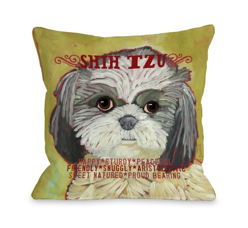 One Bella Casa Shih Tzu 2 Throw Pillow, 16 by 16-Inch from One Bella Casa