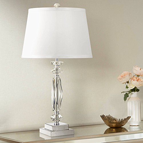 Modern Accent Table Lamp Clear Crystal Column White Tapered Drum Shade for Living Room Bedroom Bedside Office - Vienna Full Spectrum (Base Crystal Tapered)