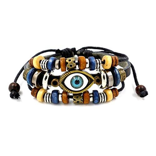 - LNKRE JEWELRY Charm Evil Eye Multi-Strand Braided Beads Leather Wrap Bracelet A1
