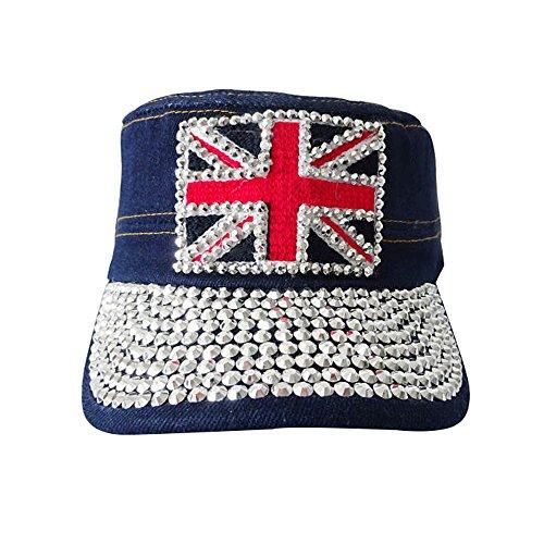 YEYON Unisex Denim Washed UK Flag Cap Hat
