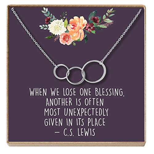 Brass Memory - Dear Ava Miscarriage Gift Necklace: Loss of Infant, Baby, Child, in Loving Memory, 3 Asymmetrical Circles (Silver-Plated-Brass, NA)