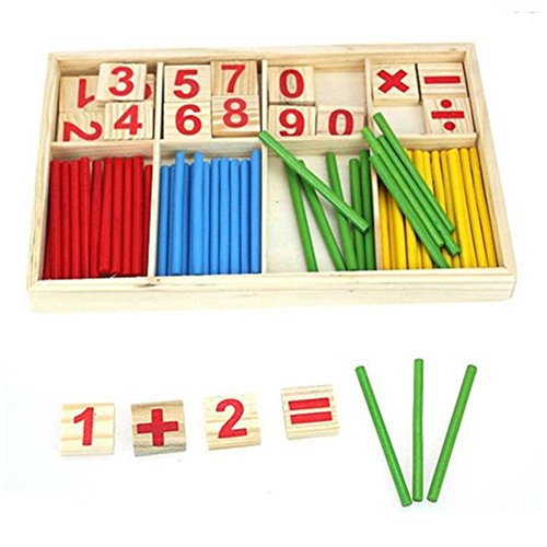 SMTSMT Kids Child Wooden Numbers Mathematics Learning Counting Educational Toy (4 Dollars Toys)