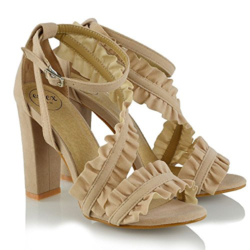 ESSEX Wildlederimitat Hohe Hautfarbe Knöchelriemen Blockabsatz GLAM Sandalen Krause Party Schuhe Damen rZqxrawS