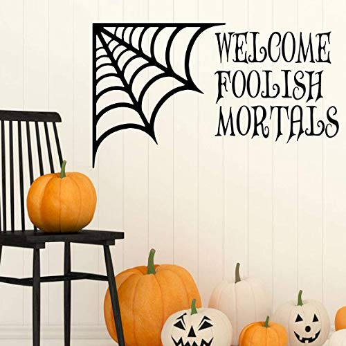 Halloween Decoration - 'Welcome Foolish Mortals' - Spiderweb Silhouette Wall Decal - Fall Vinyl Decor for the Home, Office Or Classroom -