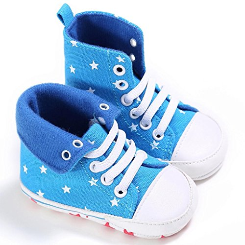 Sneaker Jamicy® Baby ToddlerCute Crib Schuhe Slip On Comfort Schuhe Leinwand High Tops Soft Anti Rutsch Schuhe Hellblau
