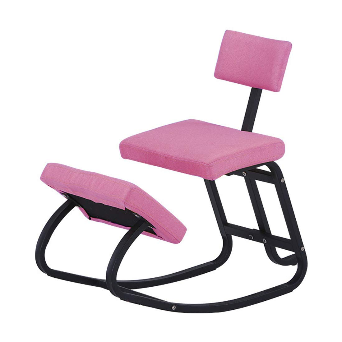 Kneeling Chairs Home Office Ergonomic Balance Fabric Cushion Metal Bracket Kneel Stool - Rocking with Back Support for Perfect Posture Kids Children with Backrest(Pink) by AJ ZJ Kneeling Chairs