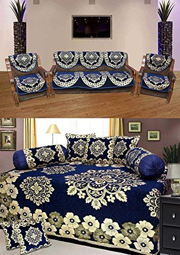 Gurnoor Combo of Floral Design Chenille Diwan and Sofa Cover Set (Blue)