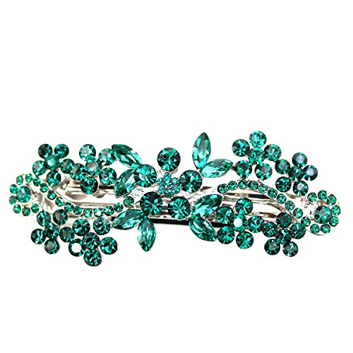 Faship Gorgeous Emerald Green Crystal Hair Barrette Clip