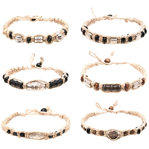 Hemp Anklet Bracelet Set of 6 for Men Women Unisex - Handmade Braided Bracelets Anklets with Silver Tribal Beads - Great Surfer Hawaiian Style Jewelry - Adjustable Perfect for the -