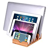 iCozzier 6 Slots Bamboo Charging Station Stand Dock Multi Device Organizer for Small Laptops, iPhone 6 6S 6Plus, iPad Mini 3 4, Samsung Galaxy S5 S6,Chrome Books, Smartphones & Tablets