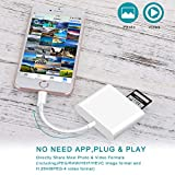 CF/TF/SD Card Reader for iPhone/iPad, VELLEE 3 in 1 Memory Card Reader Adapter, Trail Game Camera Viewer Compatible with iPhone 11/X/XR/XS/MAX/8 Plus/8/7 Plus/7/6s Plus/iPad Mini/Air