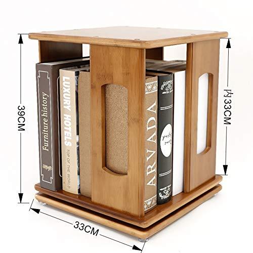 Shelves MEIDUO Rotating End Table Bamboo Bookshelf Revolving Bookcase, Bamboo, 360 Rotating Organizer Cabinet Rack (Size : 333339cm) ()
