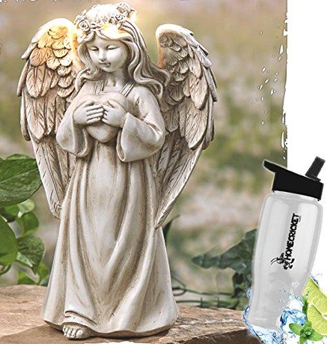 HomeCricket Gift Included- Solar Powered LED Holding Heavy Heart Garden Angel Memorial + Free Bonus Water - Arrangement Angel Flowers Wings