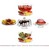 AH&R International 6 IN 1 CAKE STAND CLEAR ACRYLIC DOME LID SALAD PLATE PUNCH BOWL CHIP DIP SERVER
