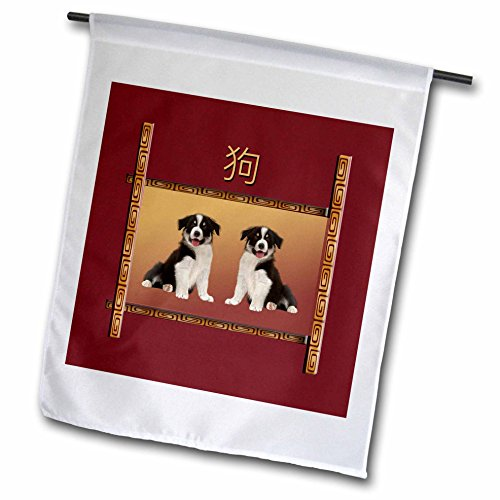 Asian Border Square Banner (3dRose Beverly Turner Chinese New Year Design - Border Collies on Asian Design Chinese New Year of the Dog, Sign of the Dog - 18 x 27 inch Garden Flag (fl_262807_2))