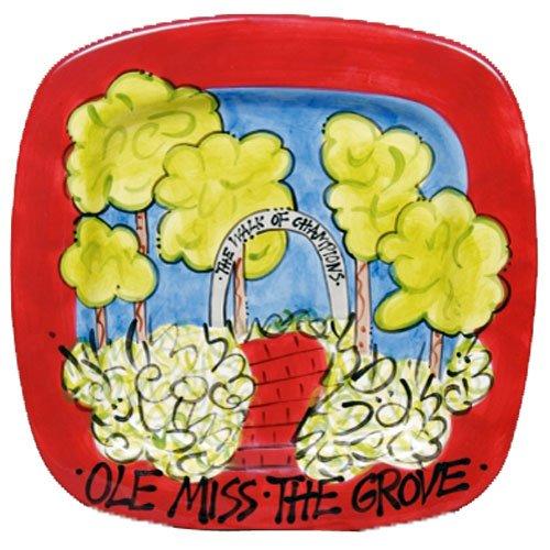 Mississippi Rebels Cardinal The Grove Large Square Platter