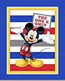 Disney 65595-160C831 Mickey Panel with Stripes No Sew Fleece Throw Kit, Blue
