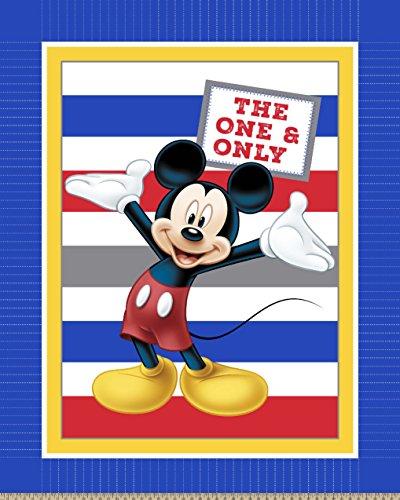 Disney 65595-160C831 Mickey Panel with Stripes No Sew Fleece Throw Kit, Blue by Disney