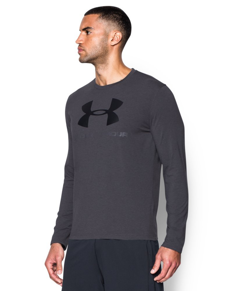 Under Armour Men's Sportstyle Long Sleeve T-Shirt, Carbon Heather /Black, Small by Under Armour (Image #3)