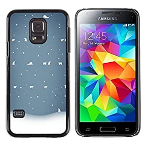 LECELL--Funda protectora / Cubierta / Piel For Samsung Galaxy S5 Mini, SM-G800, NOT S5 REGULAR! -- Winter White Blue Nostalgic --